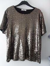 Ladies BNWOT Oasis Gold Sequin Top Size L (CE)
