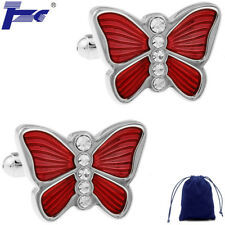 Fashion Cuff Links Men Red Butterfly With Stone Shirt Cufflinks With Velvet Bag