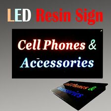 "Lighted Led Resin Window Sign Cell Phones Accessories Non Neon Display 17"" x 9"""