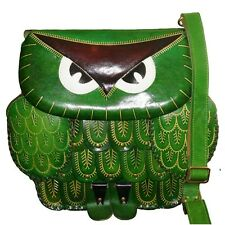 Genuine Leather Messenger Bag, Owl Design, Detachable Shoulder Strap/Green