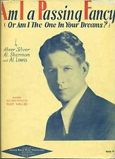 """RUDY VALLEE """"AM I A PASSING FANCY"""" PIANO/VOCAL/GUITAR SHEET MUSIC 1929 RARE!!!!"""
