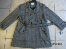 8c461067955 Women s Relativity Wool Blend Double Breasted Coat Jacket XL X-Large Black  White