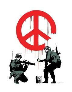 Banksy Peace Sign Soldiers Street Art Poster 11 x 14