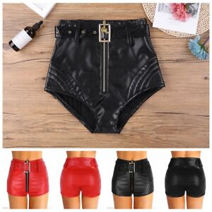 Sexy Women PU Leather Booty Shorts Hot Panties Rave Dance Club Briefs with Belt