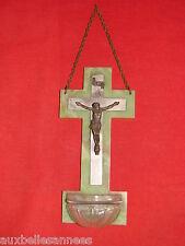 ANCIEN BÉNITIER SUR SUPPORT BAKÉLITE CHRIST / OLD STOUP
