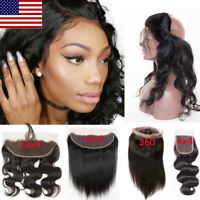 Brazilian Indian Pre Plucked Lace Frontal Virgin Human Hair Closure Baby Hair US