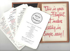 Menu Passport 1957 Food Guide To Europe Wallet 16 Countries Multilingual Cards