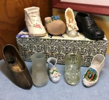 Lot 9 Vintage Shoe and Boot Figurine Collection Ceramic Porcelain Glass & Metal
