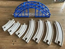 Wooden Train Tracks With Blue Trustle Bridge
