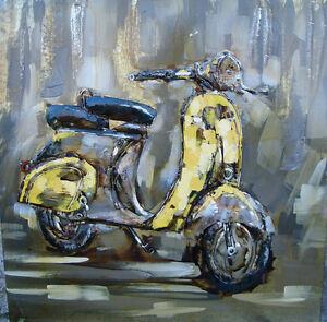 Metallbild Roller gelb Kult sechziger Freiheit Kunst Art deko 3D 100 x 100 cm