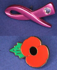 British Legion poppy & Pink Ribbon Cancer Foundation pins *[14630]