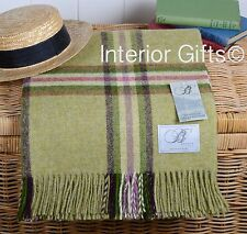 BRONTE LIME Throw Blanket Pure New Shetland Wool Country Dales Rug Soft Green