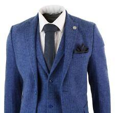 Mens Blue 3 Piece Tweed Suit Herringbone Wool Vintage Retro Peaky Blinders Fit