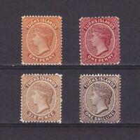 TURKS ISLANDS 1882, Sc# 44-47, CV $114, Wmk Crown-CA, 'Queen Victoria', MH