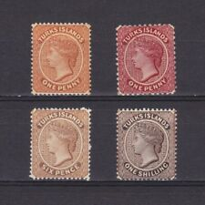 TURKS ISLANDS 1882, Sc# 44-47, CV $114, Wmk Crown-CA, 'Queen Victoria', MH