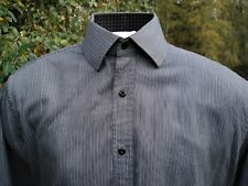 "ENGLISH LAUNDRY SHIRT XL 16-34/35 CHEST45"" VERTICALSTRIPES INCUFFS GREY / BLACK"