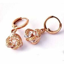Authentic Dangle Hoop Earrings Womens Vintage Rose Gold Filled Clear CZ Girls