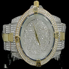 Men's Fully Ice Out Bling Two Tone Finish Bling Master Simulated Diamond Watch