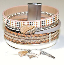 BRACELET MAGNET WRAP STONE BEIGE FRENCH JEWELRY DESIGNER  - USA SELLER