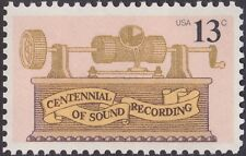 US - 1977 - 13 Cents Centennial of Sound Recording Issue # 1705 Mint NH F-VF+