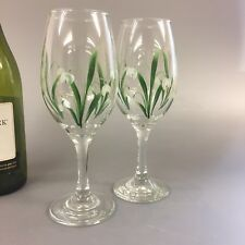 Pair Of Hand Painted Wins Glasses Snowdrop Design