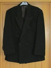 Black evening formal dinner jacket double breasted satin lapels buttons 40S vgc