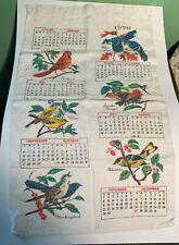 Vintage1970 Calendar Ecru Linen Tea Towel Cardinal, Warbler other Colorful Birds