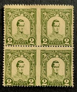 D6/45 Colombia Stamp 119 2 Pesos Block 4 Missing Perf Error M?NHNG Great Piece
