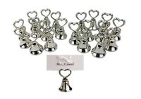 20 Silver Table Place Name Holder Love Heart Bell Wedding Party Tag Cards Ribbon