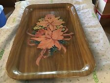 Heavy metal flowered serving tray