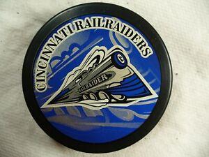 AHL Cincinnati Railraiders Rare Official Souvenir Logo Hockey Puck Collect Pucks