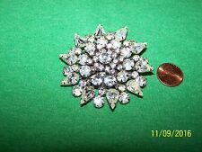 Unsigned Beautiful Brooch Pin silvertone and rhinestones  No missing stones
