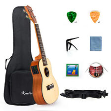 Kmise Concert Ukulele Electric Acoustic Solid Spruce Ukelele 23 inch Uke Gig Bag
