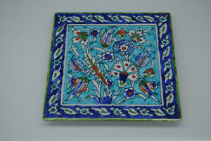a good old antique Middle Eastern Iznik style pottery tile Flowers c.1900's