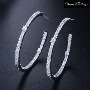 18K White Gold Large Round Oval Hoop Bling Silver CZ Pave Earrings Jewellery