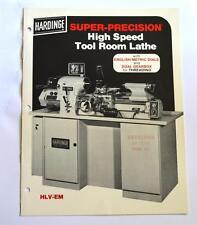 HARDINGE HLV-EM HIGH SPEED TOOL ROOM LATHE BROCHURE