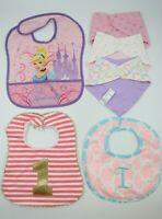 Multi Brand Baby Girl Multi Color Feeding Bibs Lot 6