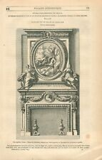 Architecture Dessin de Cheminée de Vase par Jean Lepautre GRAVURE PRINT 1849