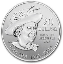 Canada 2012 $20 for $20 0.9999 pure Fine Silver Coin - Queen's Diamond Jubilee
