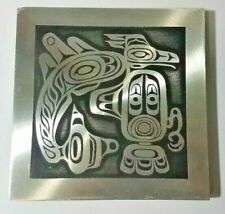 """Orchard Studio Sea Monster Handcrafted 5-5/8"""" Square Aluminum Wall Plaque"""