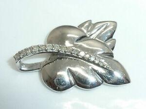 Vintage Sterling Silver & Diamond Leaf Necklace Pendant 925/S