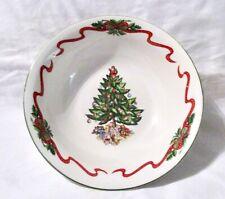 "Tabletops Unlimited 8 1/4"" Serving Bowl Christmas Tree w/Ribbon & Greenery"