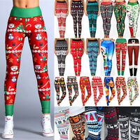 Womens Christmas Theme Sport Pant High Waisted Yoga Fitness Legging Gym Trousers