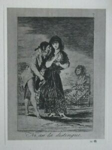 THE LOOKING-GLASS BY GOYA - 1927 Lithographic Print of an Etching, Los Caprichos