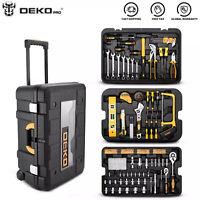 258PC Mechanic Tool Kit Set W- Rolling Box,Metric Tool Wrench Socket,Screwdriver