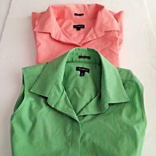 TALBOTS Lot (2) Sleeveless Womens Sz 6 Green Peach Button Front Cotton Blend