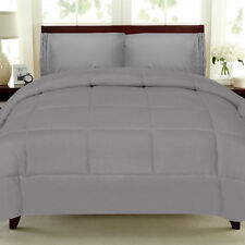 Solid Color Box Stitch 100% Polyester Down Alternative Comforter - 17 Colors