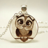 Retro Owl Photo Cabochon Glass Silver Chain Charm Pendant Necklace Jewelry Gift