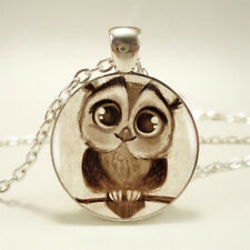 Vintage Steampunk Owl Photo Cabochon Glass Silver Pendant Chain Necklace Jewelry