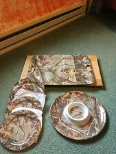 Realtree Camo X-Large Platter, Chip Platter and Plates. NEW